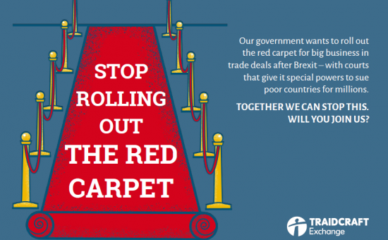 Red Carpet Court postcard - ISDS Traidcraft - Exchange